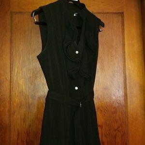 Calvin Klein black pleated dress